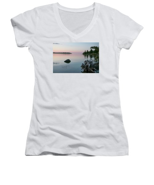 Calm Water At Lake Huron Crystal Point Women's V-Neck T-Shirt (Junior Cut) by Kelly Hazel