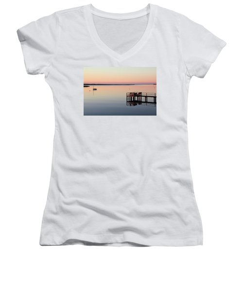 Calm Waters Women's V-Neck T-Shirt (Junior Cut) by Roupen  Baker