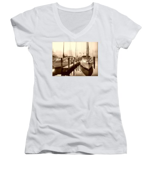 Women's V-Neck T-Shirt (Junior Cut) featuring the photograph Calmly Docked by Brian Wallace