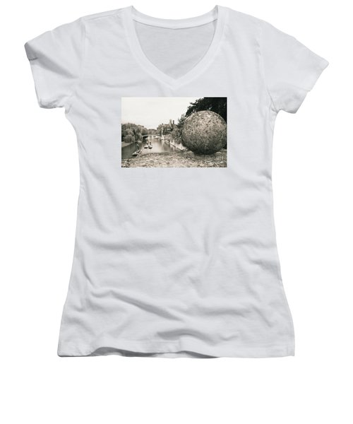 Cambridge Punting  Women's V-Neck T-Shirt (Junior Cut) by Eden Baed