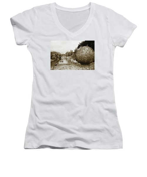 Cambridge Punting Sepia Women's V-Neck T-Shirt