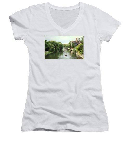 Cambridge River Punting Women's V-Neck T-Shirt (Junior Cut) by Eden Baed