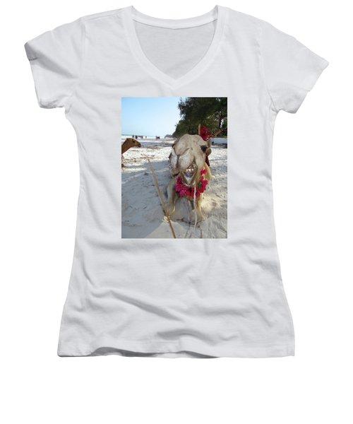 Camel On Beach Kenya Wedding2 Women's V-Neck (Athletic Fit)