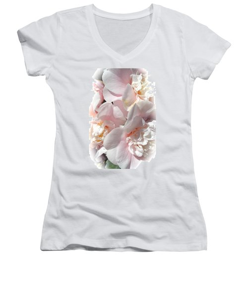 Camellias Softly Women's V-Neck T-Shirt (Junior Cut) by Michele Myers