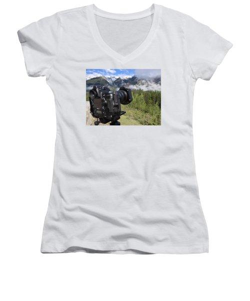 Camera Mountain Women's V-Neck