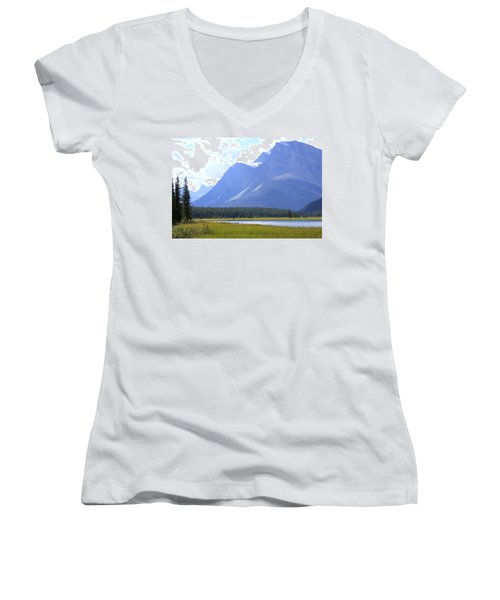 Canadian Mountains Women's V-Neck T-Shirt (Junior Cut) by Catherine Alfidi