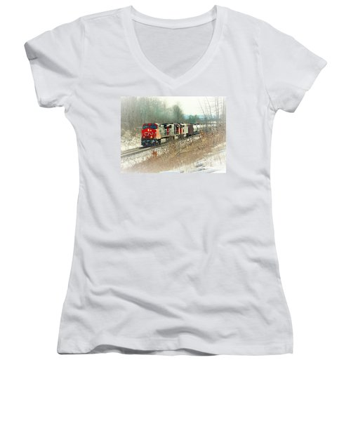 Canadian National Railway Vignette Women's V-Neck T-Shirt