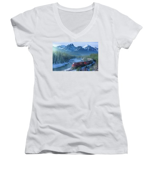 Canadian Pacific Railway Through The Rocky Mountains Women's V-Neck T-Shirt (Junior Cut) by Rod Jellison