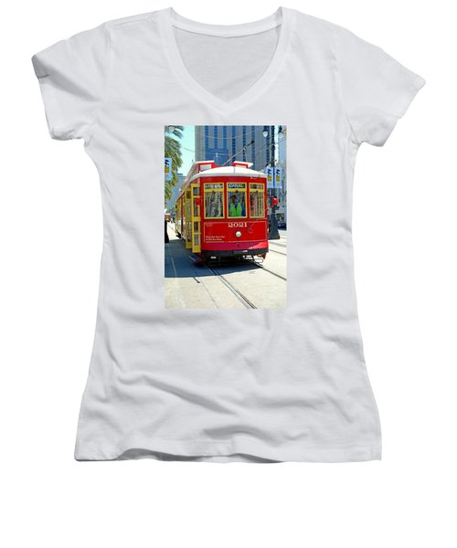 Canal Street Cable Car Women's V-Neck T-Shirt