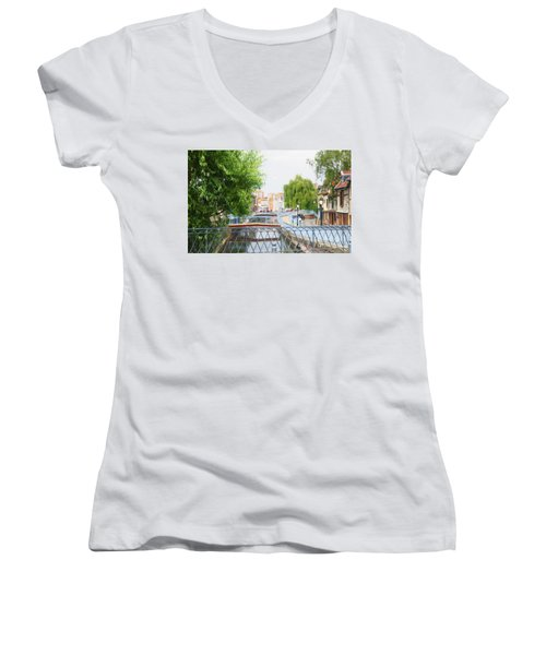 Women's V-Neck T-Shirt (Junior Cut) featuring the photograph Canal View In Amiens by Therese Alcorn