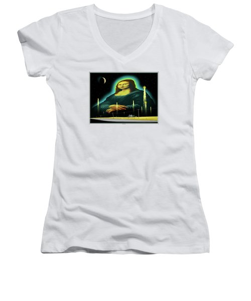 Women's V-Neck T-Shirt (Junior Cut) featuring the digital art Candles For Mona by Scott Ross