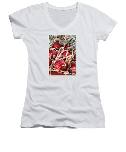 Candy Canes And Red Christmas Ornaments Women's V-Neck