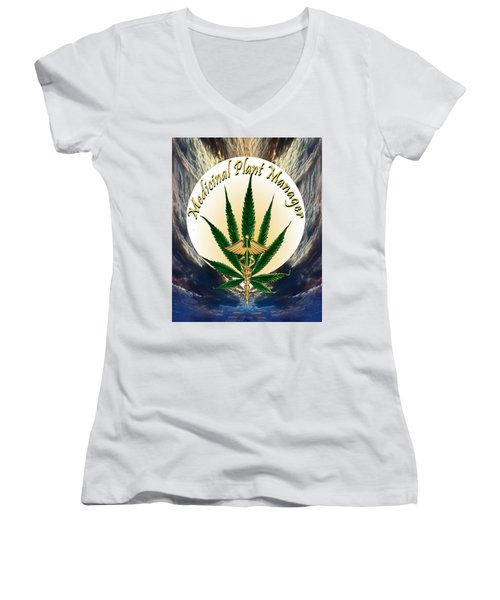 Cannabis Medicinal Plant Women's V-Neck (Athletic Fit)