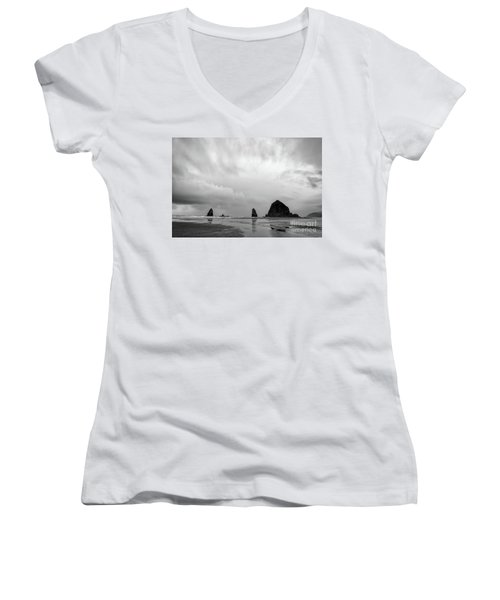 Cannon Beach In Black And White Women's V-Neck