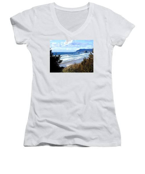 Cannon Beach Vista Women's V-Neck T-Shirt (Junior Cut)