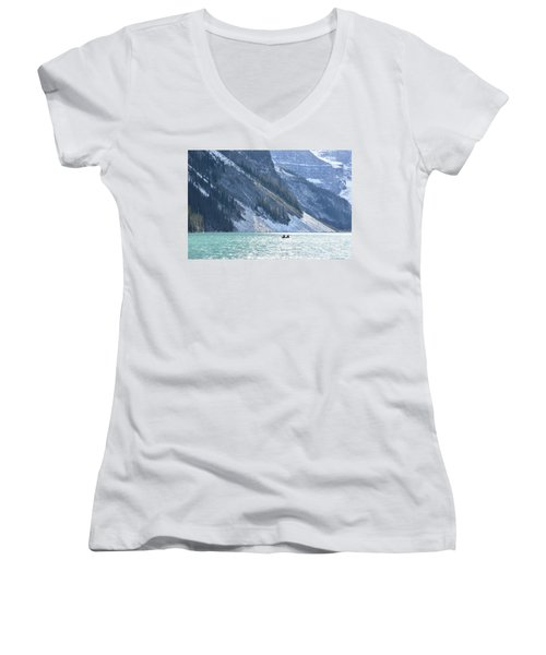 Canoeing On Lake Louise Women's V-Neck T-Shirt (Junior Cut) by Keith Boone