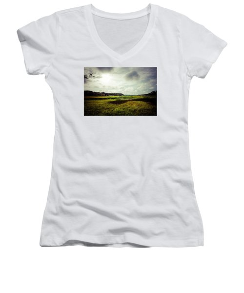Cape Cod Marsh 1 Women's V-Neck (Athletic Fit)