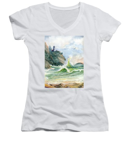Women's V-Neck T-Shirt (Junior Cut) featuring the painting Cape Disappointment Lighthouse by Marilyn Smith