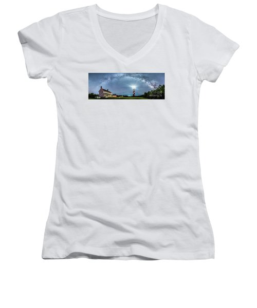 Cape Hatteras Light House Milky Way Panoramic Women's V-Neck (Athletic Fit)
