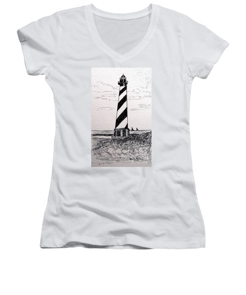 Women's V-Neck T-Shirt (Junior Cut) featuring the drawing Cape Hatteras Lighthouse Nc by Julie Brugh Riffey