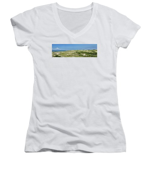 Women's V-Neck T-Shirt (Junior Cut) featuring the photograph Cape Henlopen State Park - The Point - Delaware by Brendan Reals