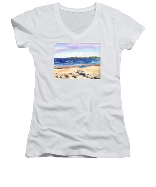 Cape May Beach Women's V-Neck T-Shirt (Junior Cut)
