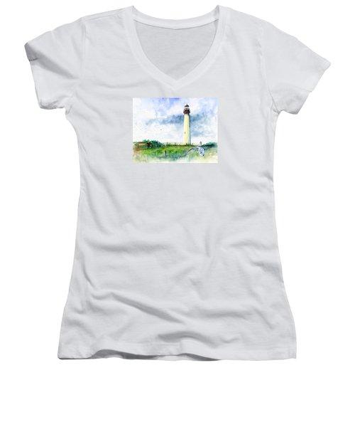 Cape May Lighthouse Women's V-Neck T-Shirt (Junior Cut) by John D Benson