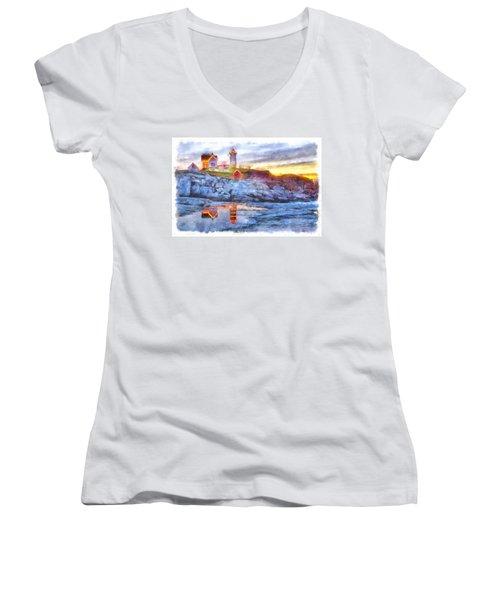 Cape Neddick Light Watercolor Women's V-Neck T-Shirt