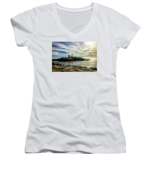 Cape Neddick Lighthouse Women's V-Neck T-Shirt (Junior Cut) by Sherman Perry