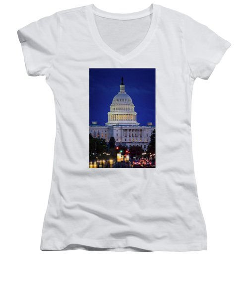Capitol At Dusk Women's V-Neck T-Shirt