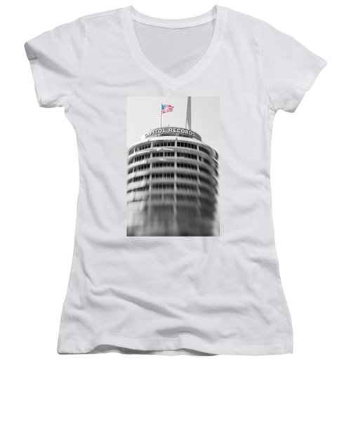 Women's V-Neck T-Shirt (Junior Cut) featuring the photograph Capitol Records Building 18 by Micah May