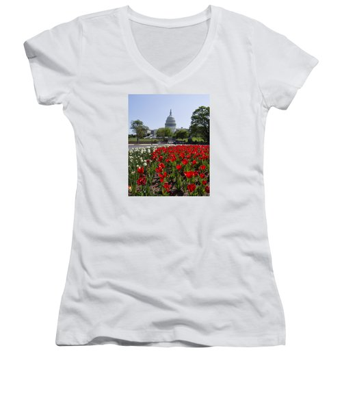 Capitol Tulips  Women's V-Neck T-Shirt