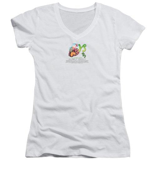 Capricorn Sun Sign Women's V-Neck T-Shirt (Junior Cut) by Shelley Overton