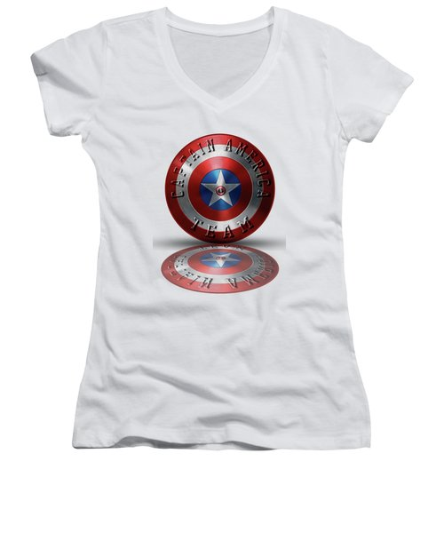 Captain America Team Typography On Captain America Shield  Women's V-Neck (Athletic Fit)