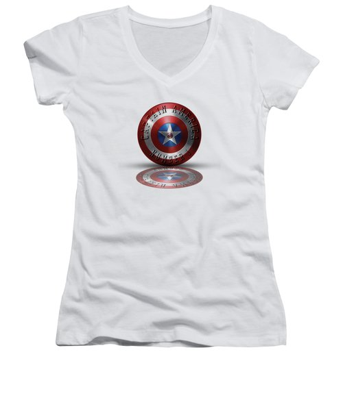 Captain America Typography On Captain America Shield  Women's V-Neck