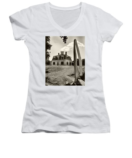 Women's V-Neck T-Shirt (Junior Cut) featuring the photograph Captions Home by Raymond Earley