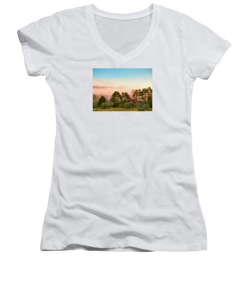 Car Scenery Women's V-Neck T-Shirt (Junior Cut) by Susan Crossman Buscho