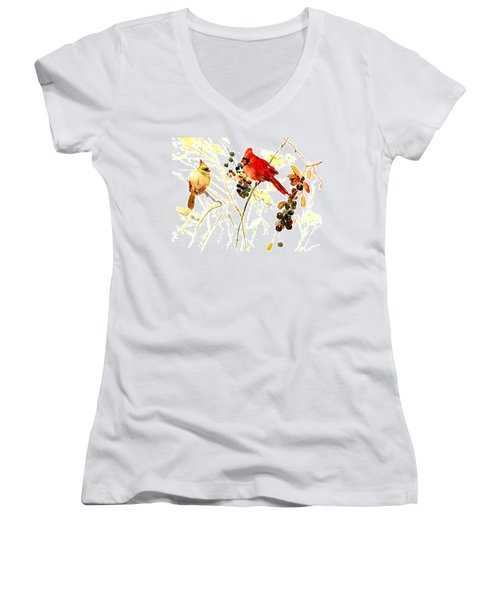 Cardinal Birds And Berries Women's V-Neck T-Shirt