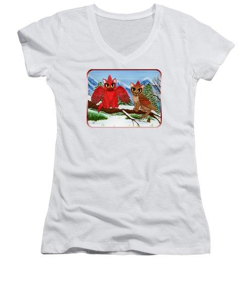 Cardinal Cats Women's V-Neck T-Shirt (Junior Cut) by Carrie Hawks