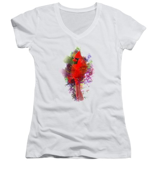 Cardinal Watercolor Women's V-Neck (Athletic Fit)