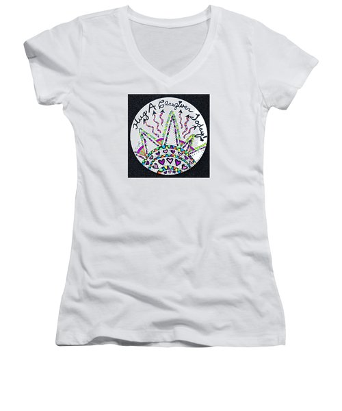 Caregiver Hugs Women's V-Neck T-Shirt (Junior Cut) by Carole Brecht