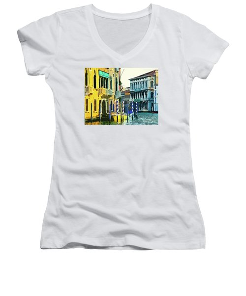 Women's V-Neck T-Shirt (Junior Cut) featuring the photograph Ca'rezzonico Museum by Tom Cameron