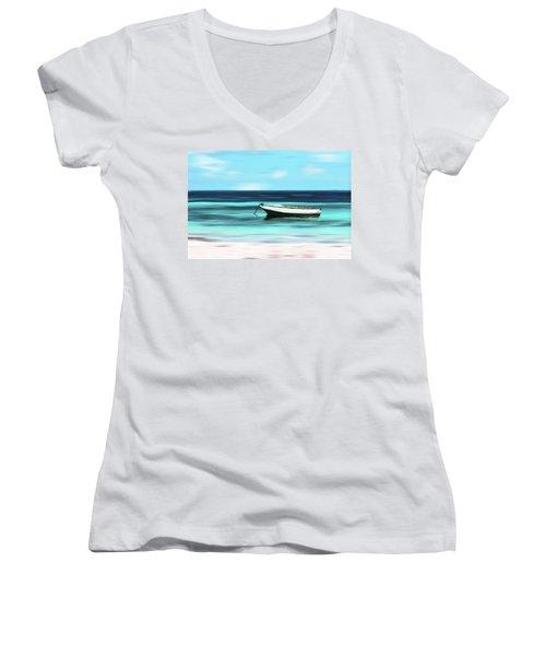 Caribbean Dream Boat Women's V-Neck T-Shirt (Junior Cut) by Deborah Smith