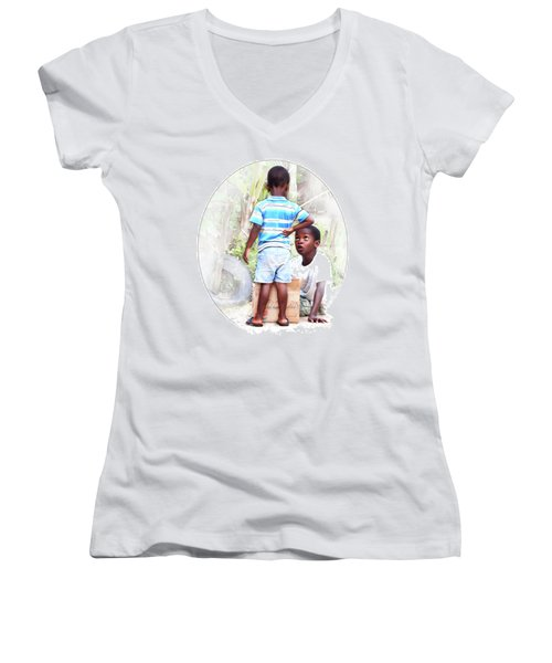 Caribbean Kids Illustration Women's V-Neck