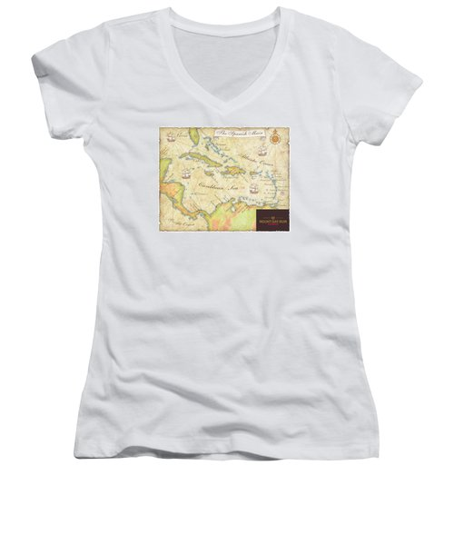 Caribbean Map II Women's V-Neck T-Shirt (Junior Cut) by Unknown