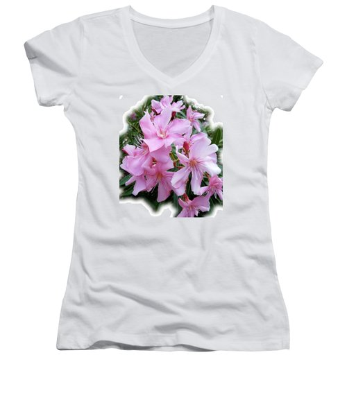 Women's V-Neck T-Shirt (Junior Cut) featuring the photograph Caribbean Oleander by Marie Hicks