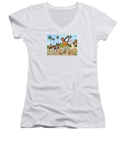 Women's V-Neck T-Shirt (Junior Cut) featuring the painting Caribbean Scenes - Cricket On De Beach by Wayne Pascall