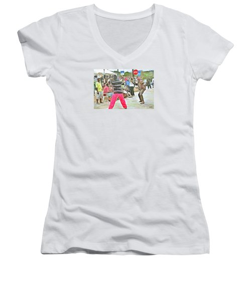 Women's V-Neck T-Shirt (Junior Cut) featuring the painting Caribbean Scenes - De Stick Fight by Wayne Pascall