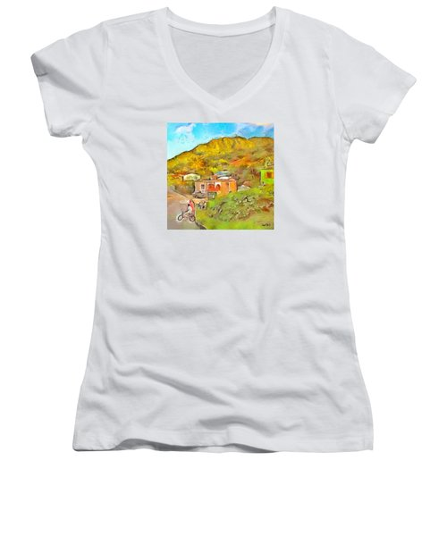 Women's V-Neck T-Shirt (Junior Cut) featuring the painting Caribbean Scenes - De Village by Wayne Pascall