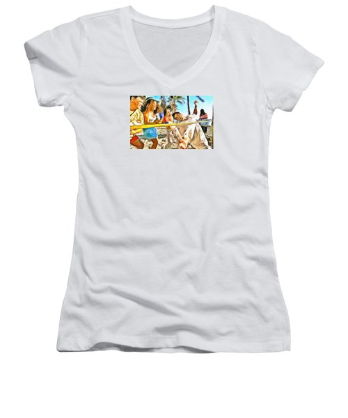 Women's V-Neck T-Shirt (Junior Cut) featuring the painting Caribbean Scenes - Limbo by Wayne Pascall